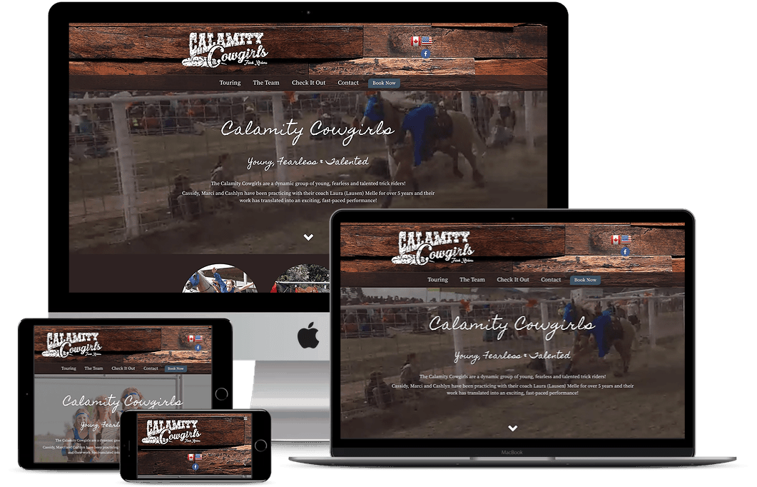 Calamity Cowgirls screen mockups
