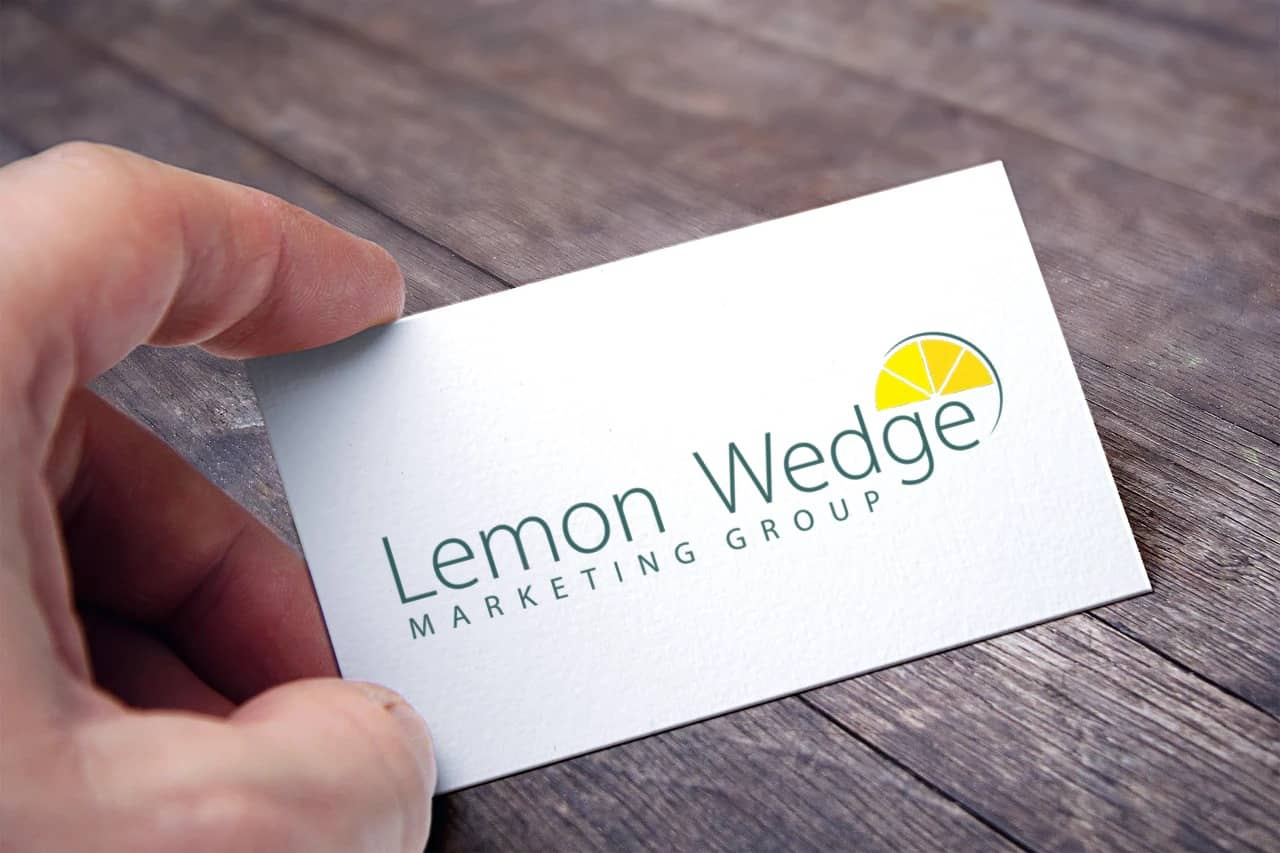 Lemon Wedge Marketing Group Logo on a business card
